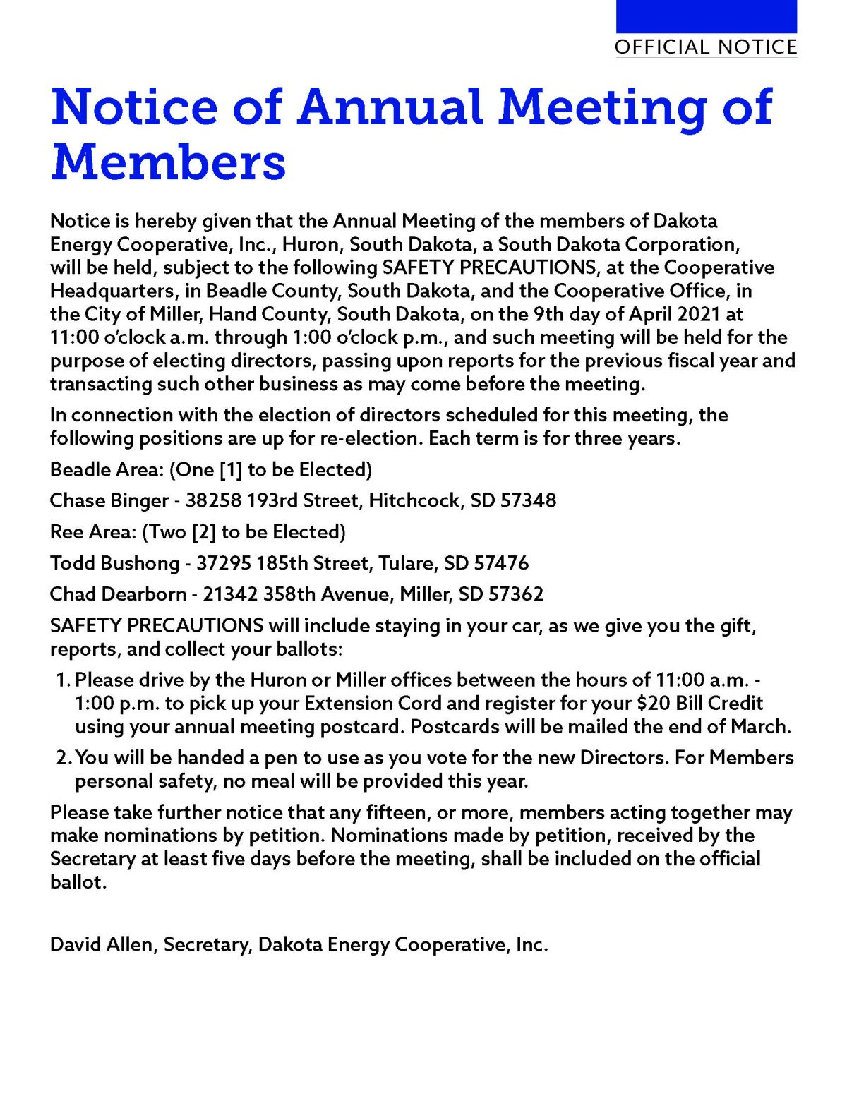 2021 Annual Meeting Notice